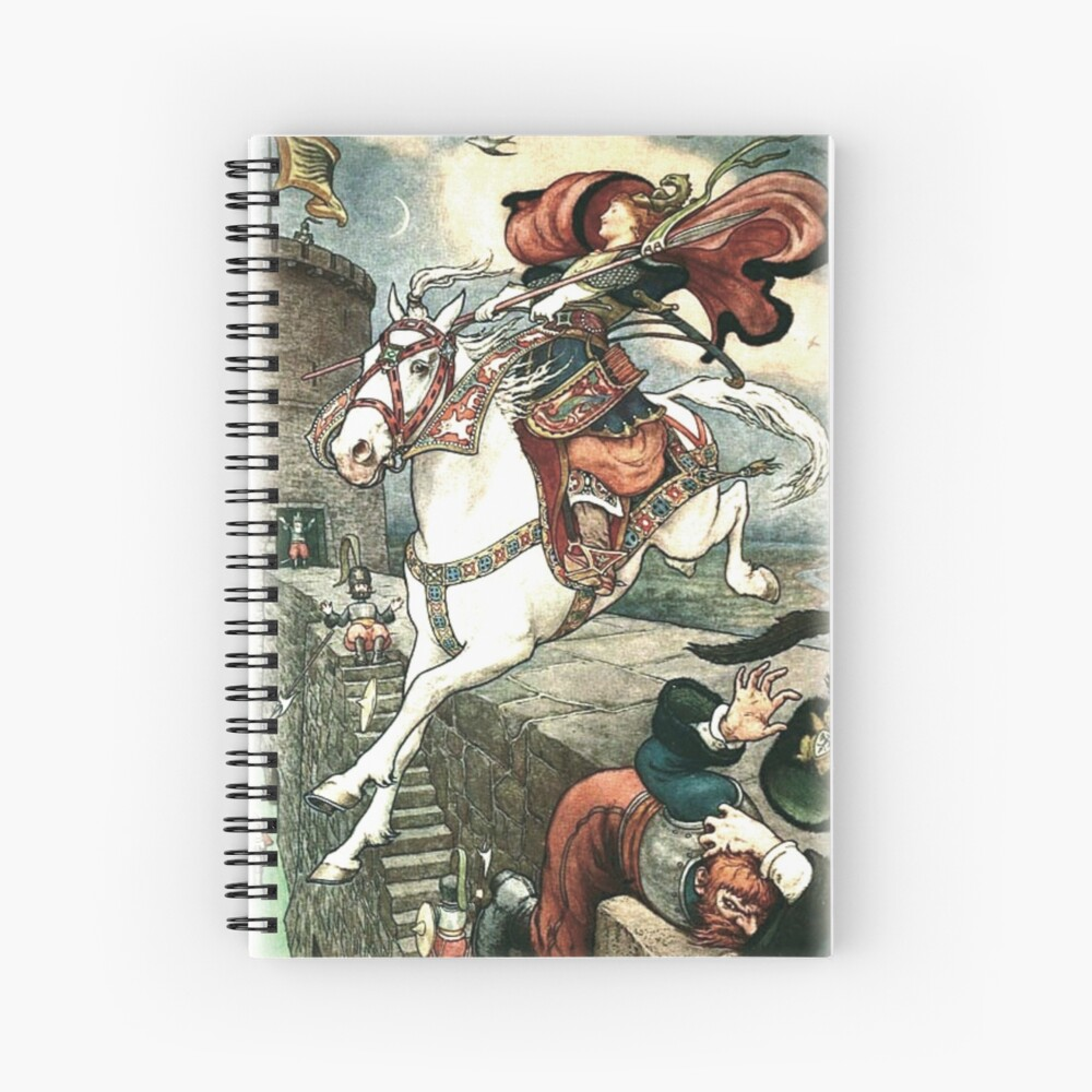 SHE PUT HER GOOD STEED TO THE WALLS AND LEAPT LIGHTLY OVER THEM from the story HOW STAVR THE NOBLE WAS SAVED BY A WOMAN'S WILES in The Russian Story Book Spiral Notebook