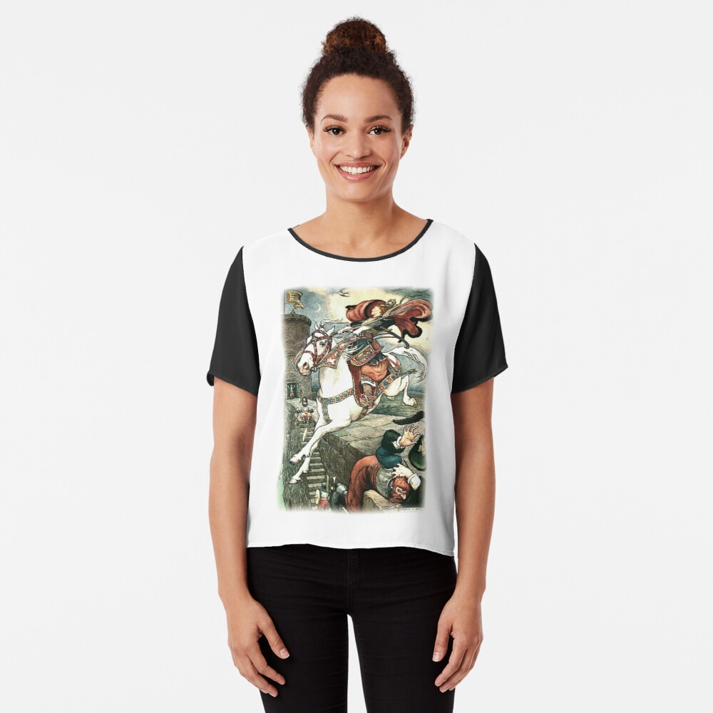 SHE PUT HER GOOD STEED TO THE WALLS AND LEAPT LIGHTLY OVER THEM from the story HOW STAVR THE NOBLE WAS SAVED BY A WOMAN'S WILES in The Russian Story Book Chiffon Top