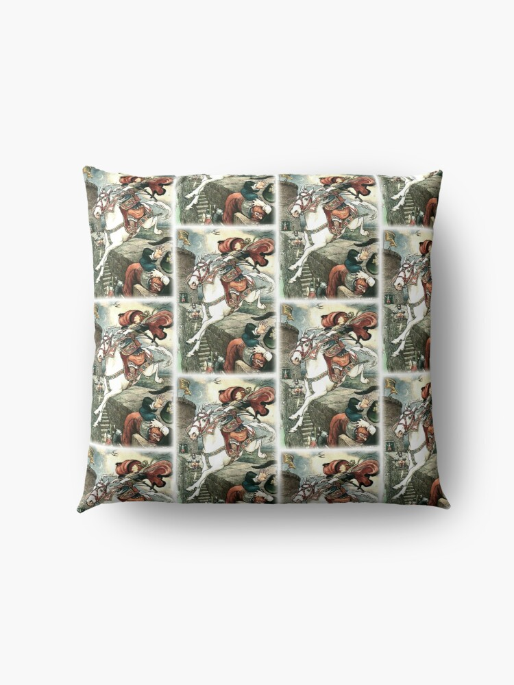 Alternate view of SHE PUT HER GOOD STEED TO THE WALLS AND LEAPT LIGHTLY OVER THEM from the story HOW STAVR THE NOBLE WAS SAVED BY A WOMAN'S WILES in The Russian Story Book Floor Pillow
