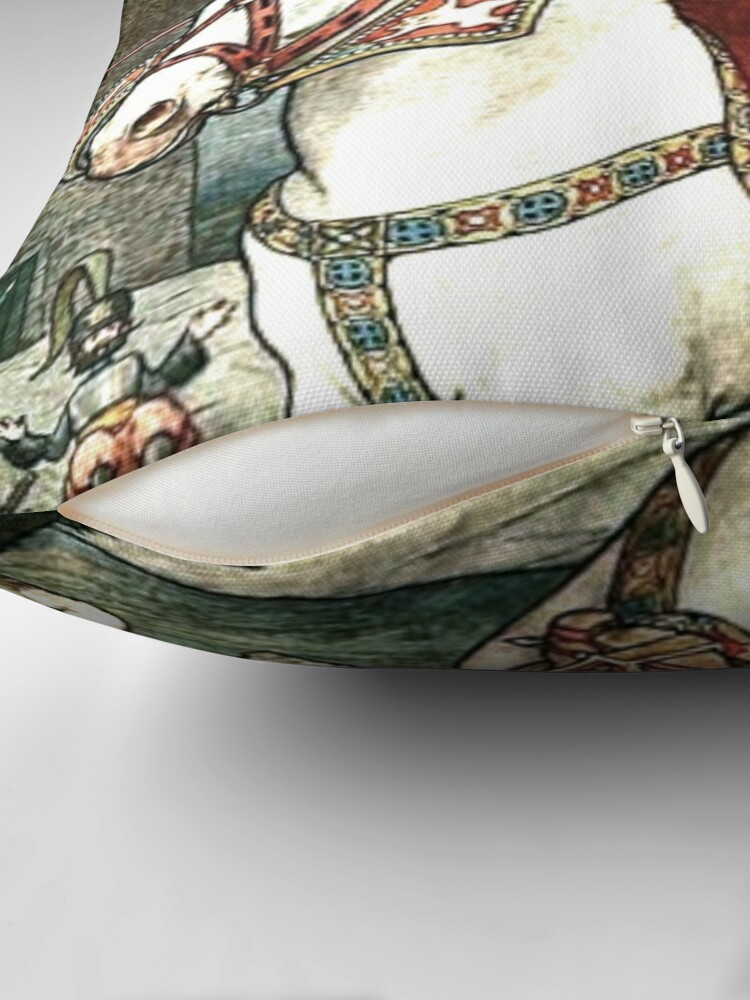 Alternate view of SHE PUT HER GOOD STEED TO THE WALLS AND LEAPT LIGHTLY OVER THEM from the story HOW STAVR THE NOBLE WAS SAVED BY A WOMAN'S WILES in The Russian Story Book Throw Pillow