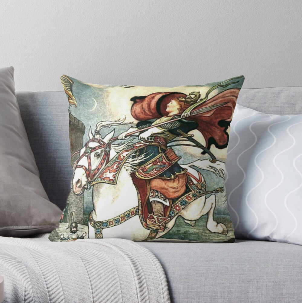 SHE PUT HER GOOD STEED TO THE WALLS AND LEAPT LIGHTLY OVER THEM from the story HOW STAVR THE NOBLE WAS SAVED BY A WOMAN'S WILES in The Russian Story Book Throw Pillow