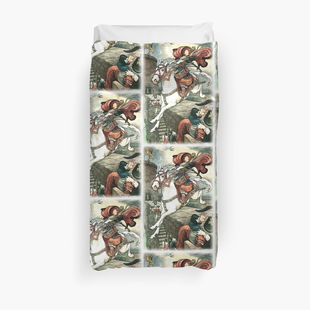 SHE PUT HER GOOD STEED TO THE WALLS AND LEAPT LIGHTLY OVER THEM from the story HOW STAVR THE NOBLE WAS SAVED BY A WOMAN'S WILES in The Russian Story Book Duvet Cover