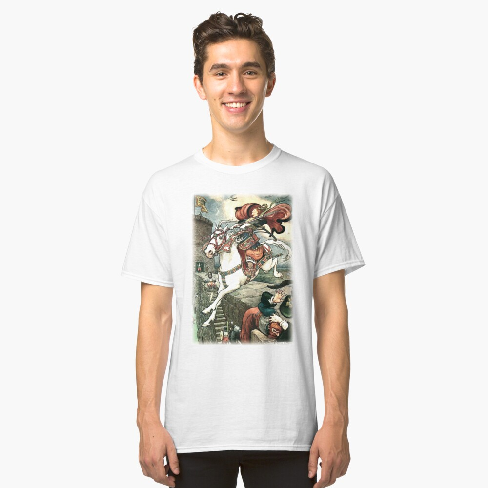 SHE PUT HER GOOD STEED TO THE WALLS AND LEAPT LIGHTLY OVER THEM from the story HOW STAVR THE NOBLE WAS SAVED BY A WOMAN'S WILES in The Russian Story Book Classic T-Shirt