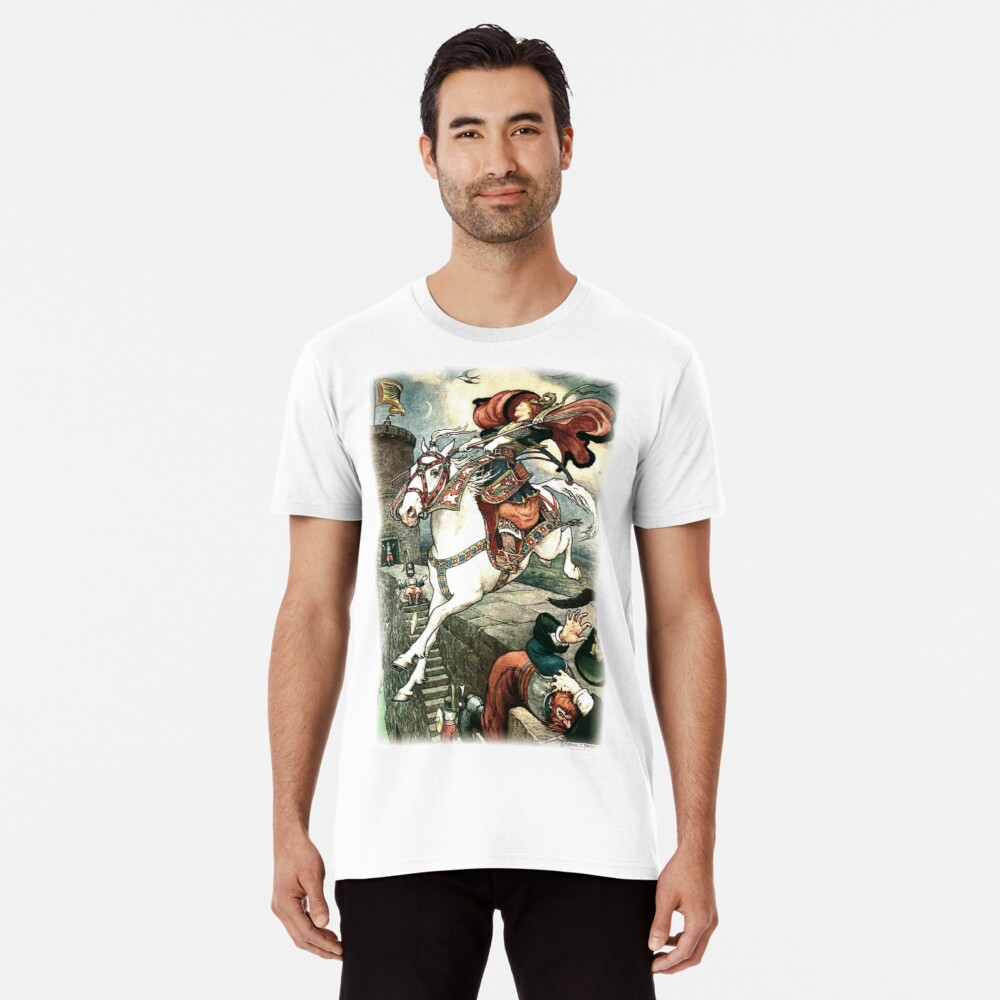 SHE PUT HER GOOD STEED TO THE WALLS AND LEAPT LIGHTLY OVER THEM from the story HOW STAVR THE NOBLE WAS SAVED BY A WOMAN'S WILES in The Russian Story Book Premium T-Shirt