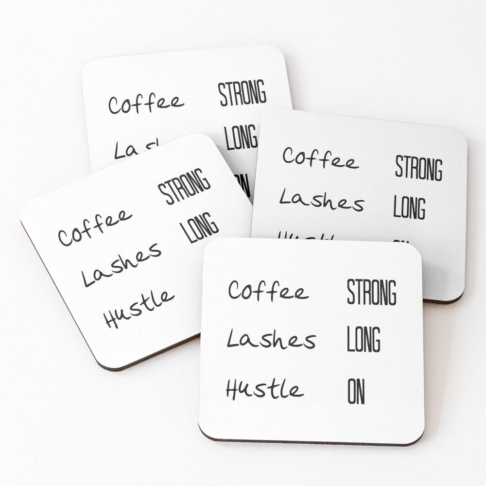 Coffee, Lashes, Hustle Coasters (Set of 4)