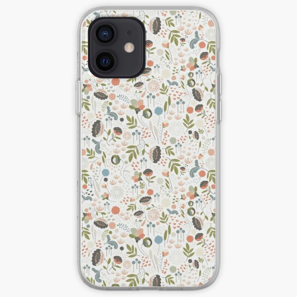 Floribund: Pretty and Feminine Floral and Foliage Botanical Vector Illustration Repeat Pattern iPhone Soft Case