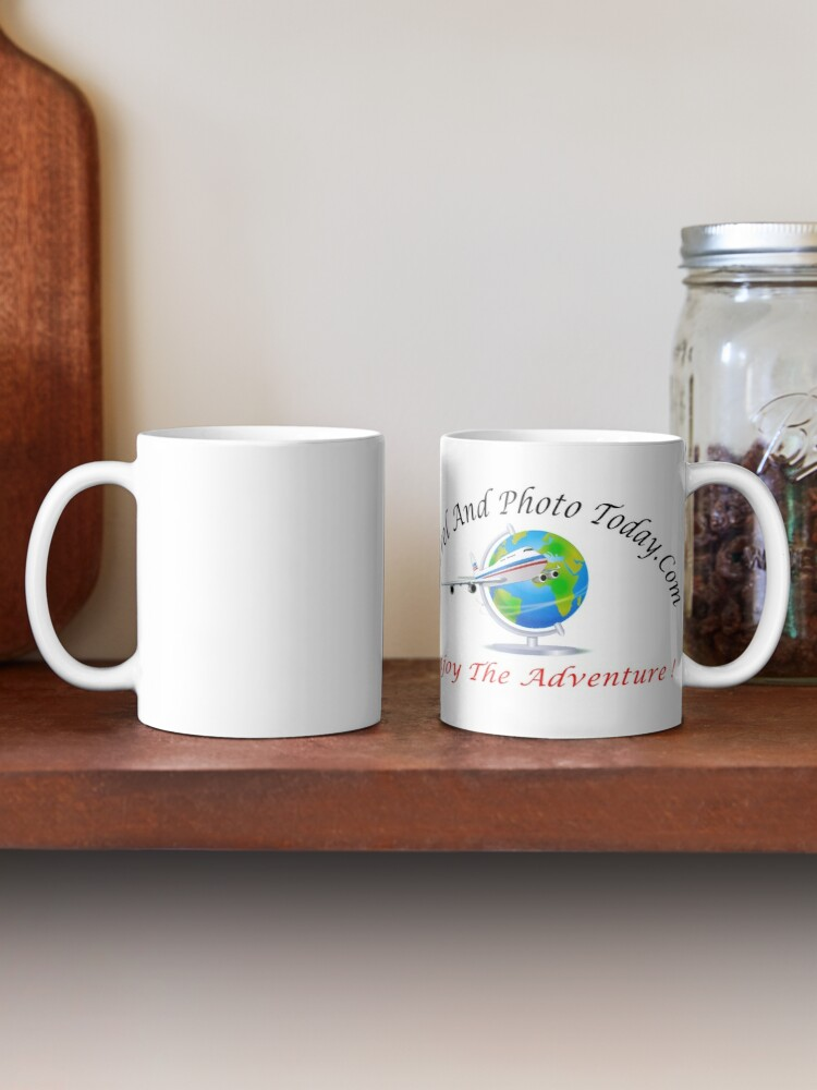Alternate view of Travel And Photo Today.Com Large Logo - Black & Red Letter Mug