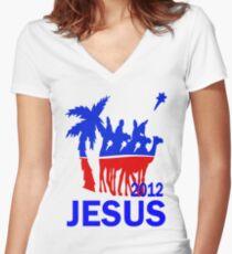Jesus for President 2012 Women's Fitted V-Neck T-Shirt