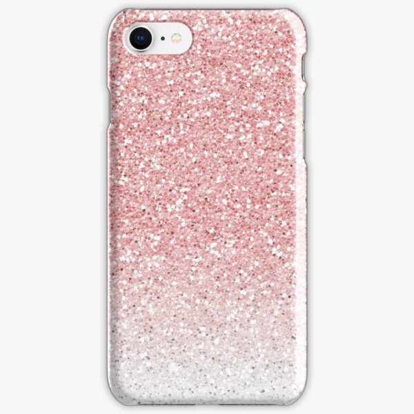 Rose Pink and White Ombre Glitter iPhone Snap Case