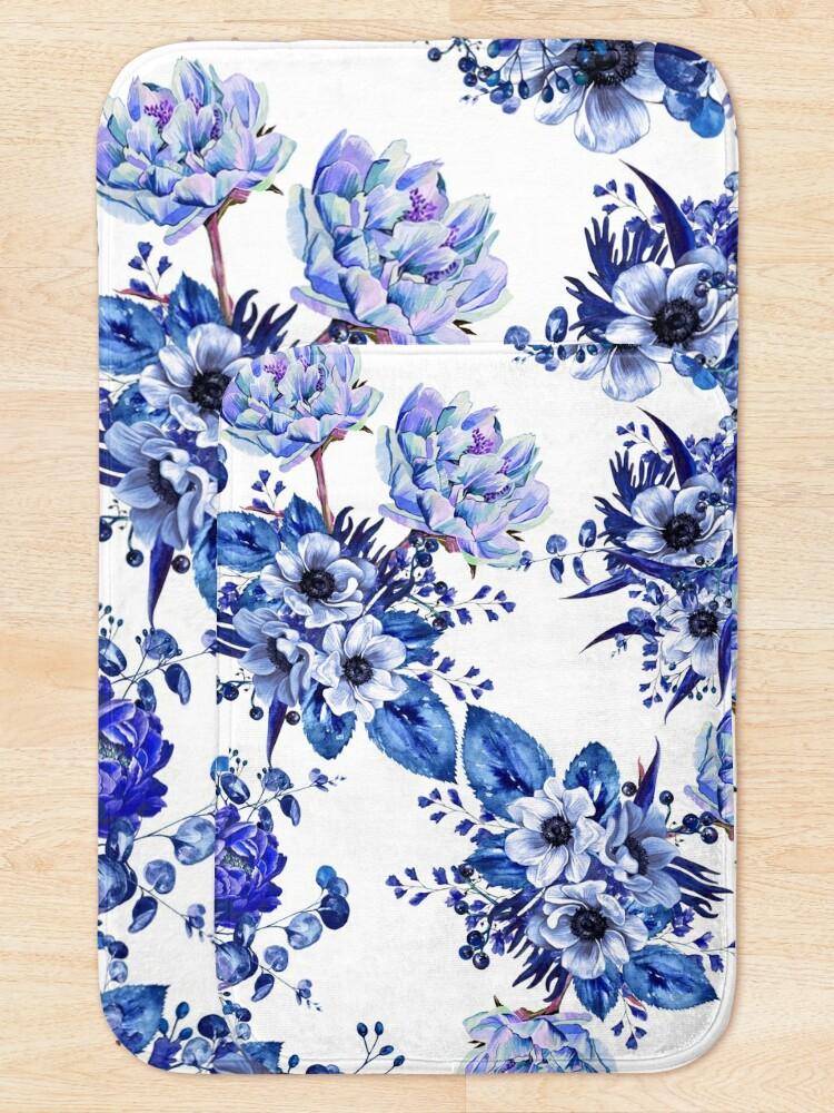 Alternate view of Blue Floral Design Bath Mat
