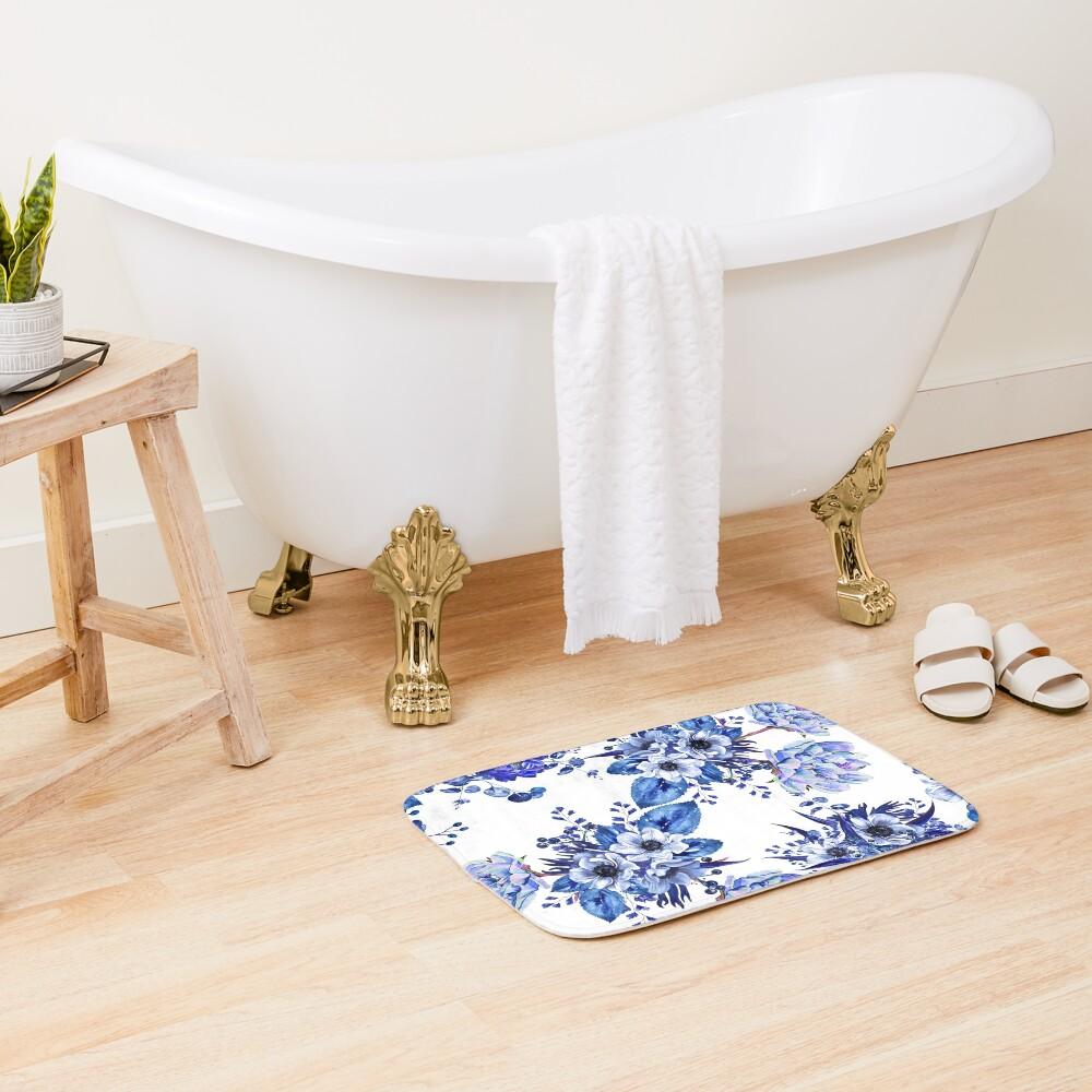 Blue Floral Design Bath Mat