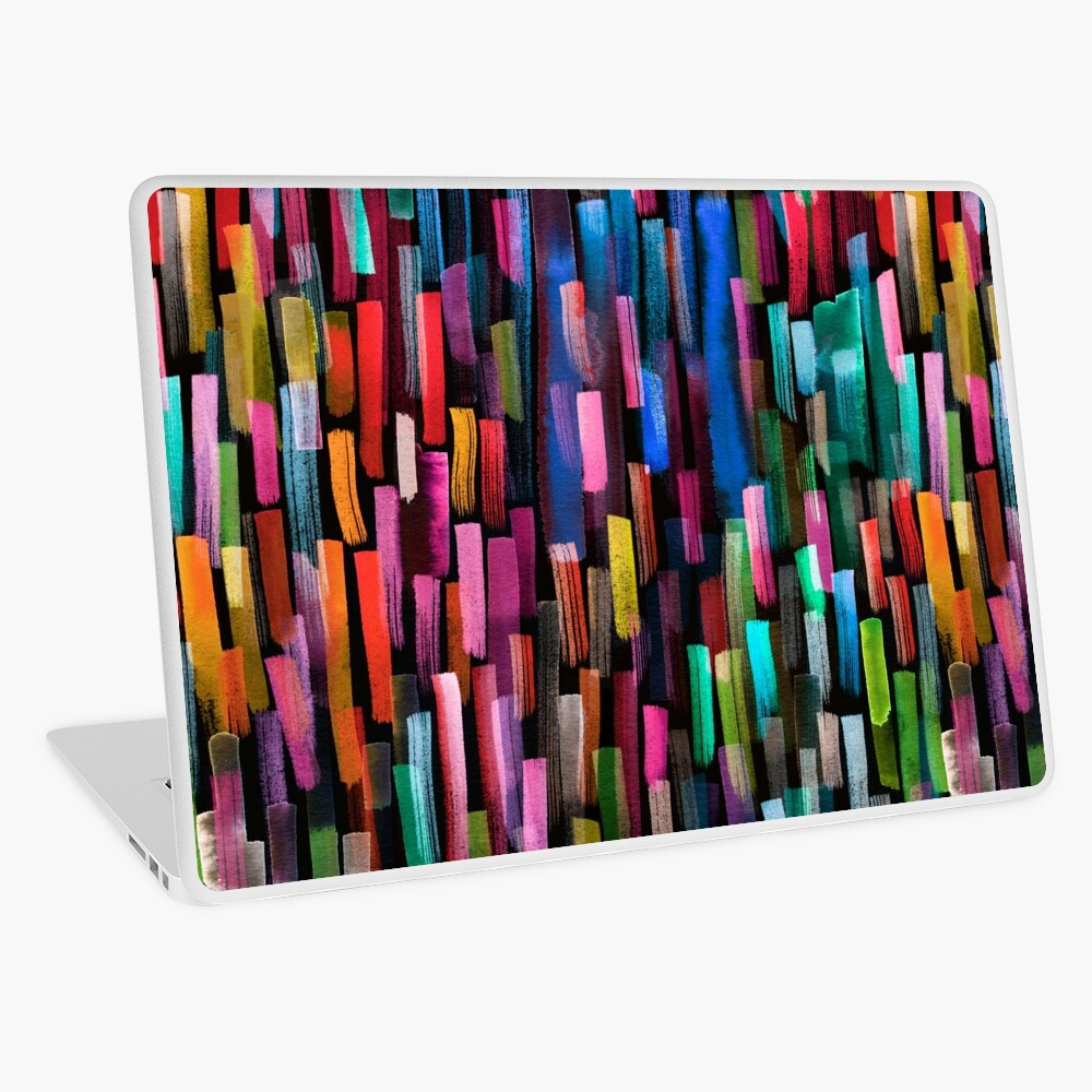 Multicolored watercolor stripes pattern Laptop Skin
