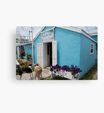 Miss Emily's  Blue Bee Bar, Green Turtle Cay, Abaco Canvas Print