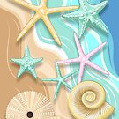 Seashells Retro Pastel Sea Life by BluedarkArt