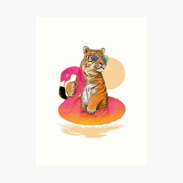 Chillin, Flamingo Tiger Art Print