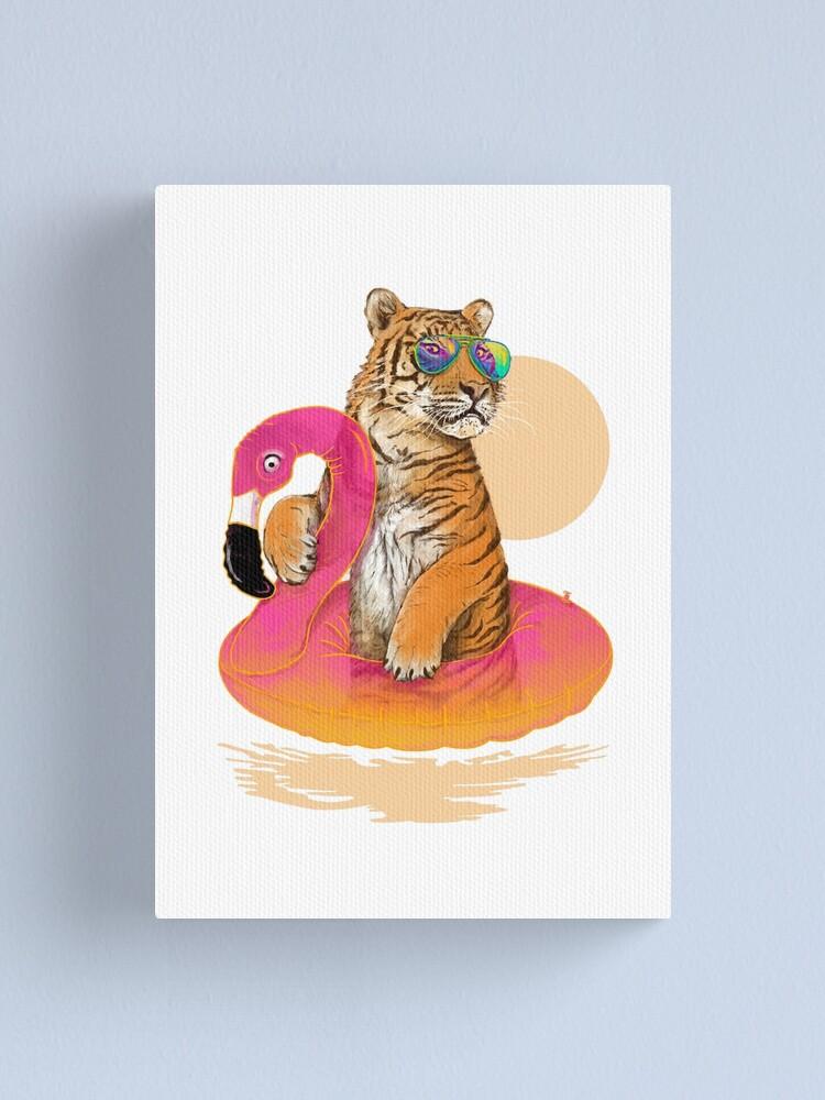 Alternate view of Chillin, Flamingo Tiger Canvas Print