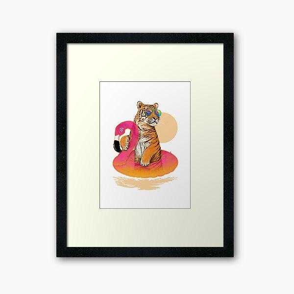 Chillin, Flamingo Tiger Framed Art Print