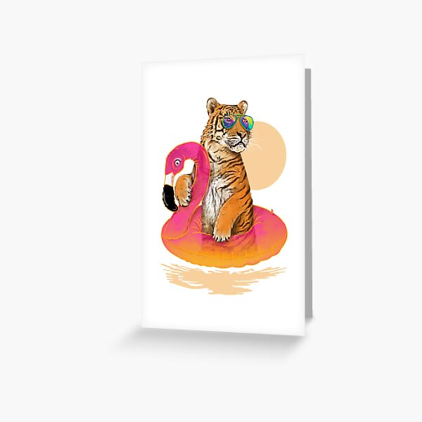 Chillin, Flamingo Tiger Greeting Card