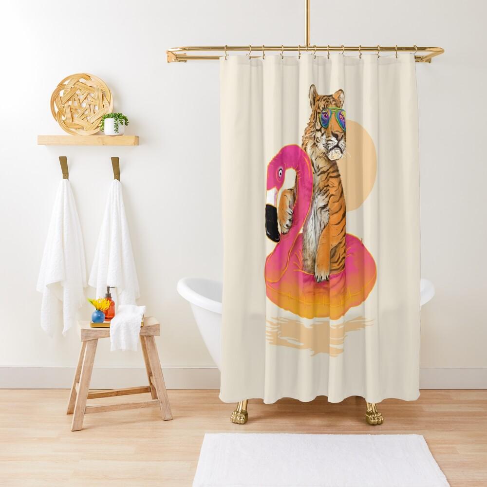 Chillin, Flamingo Tiger Shower Curtain
