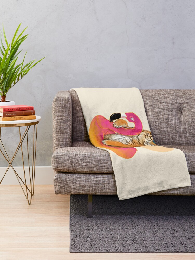 Alternate view of Chillin, Flamingo Tiger Throw Blanket