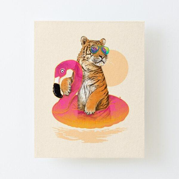 Chillin, Flamingo Tiger Canvas Mounted Print