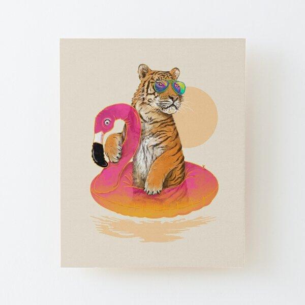 Chillin, Flamingo Tiger Wood Mounted Print