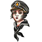 Traditional Sailor Girl Tattoo Design by FOREVER TRUE TATTOO