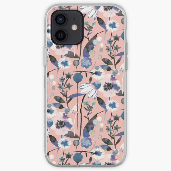 Pink pastel flowers pattern iPhone Soft Case