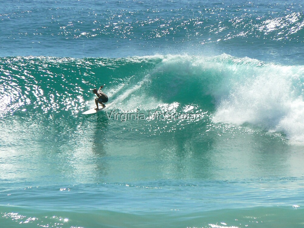 Surfing at Burleigh Heads #4 by Virginia McGowan