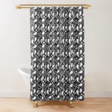 Small Black and White Paisley Pattern  Shower Curtain