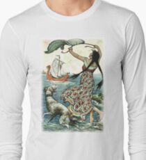 THE BLACK-BROWED MAID STOOD UPON THE BANK AS THE RED SHIP SAILED AWAY FROM NOVGOROD from the story VASILY THE TURBULENT in The Russian Story Book Long Sleeve T-Shirt