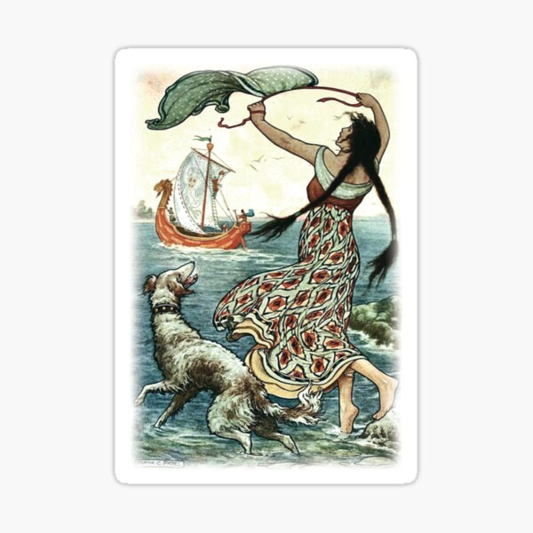 THE BLACK-BROWED MAID STOOD UPON THE BANK AS THE RED SHIP SAILED AWAY FROM NOVGOROD from the story VASILY THE TURBULENT in The Russian Story Book Sticker
