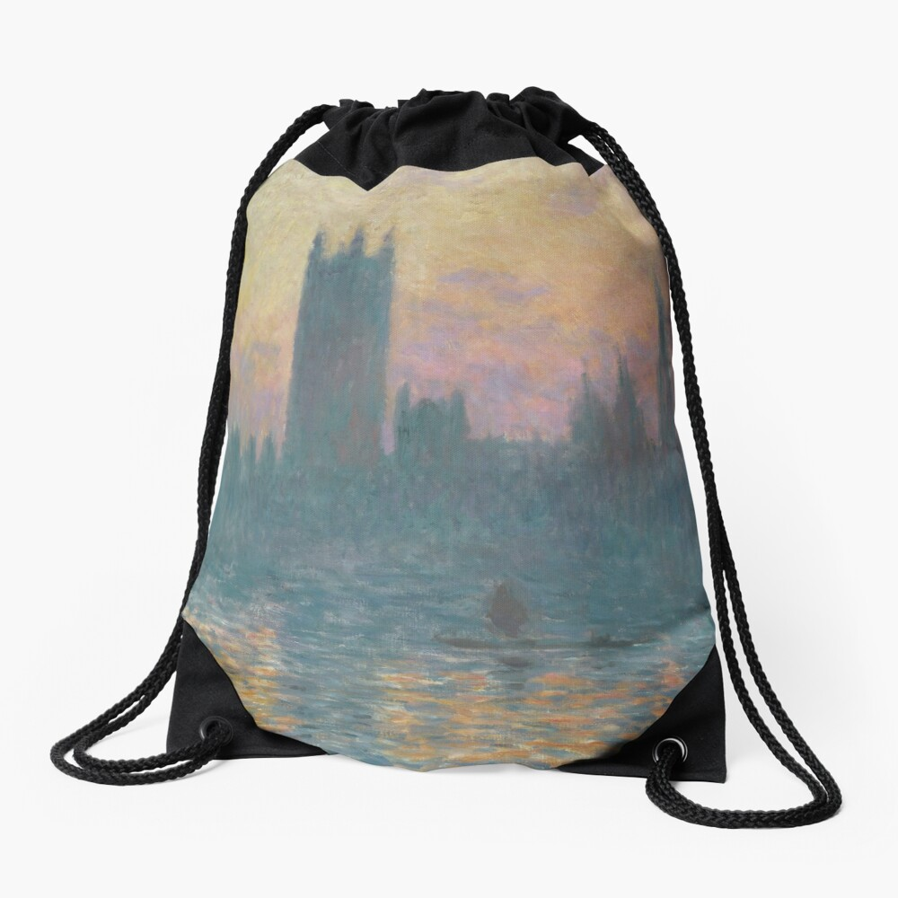 The Houses of Parliament Sunset by Claude Monet Drawstring Bag