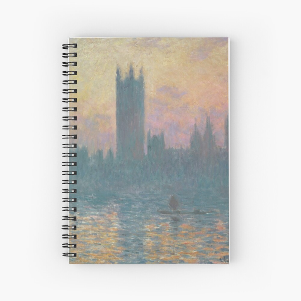 The Houses of Parliament Sunset by Claude Monet Spiral Notebook