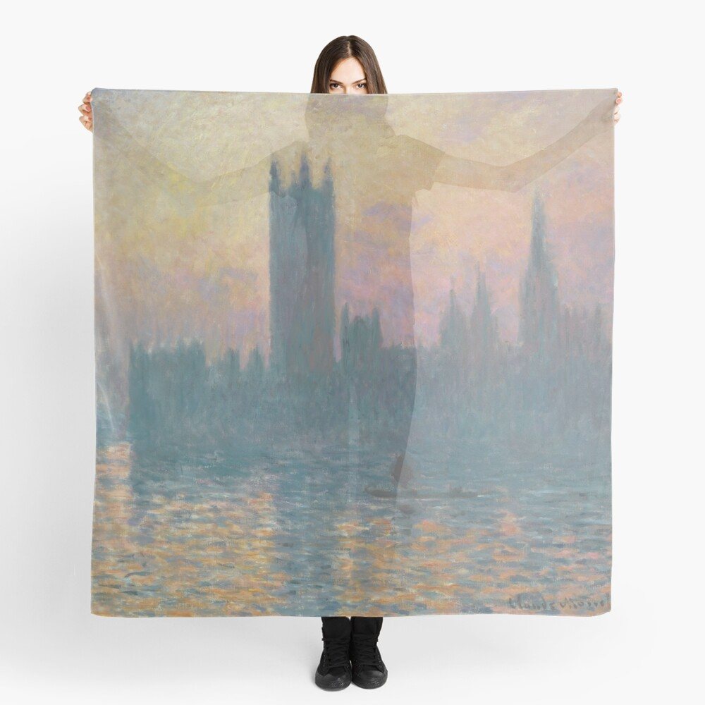 The Houses of Parliament Sunset by Claude Monet Scarf