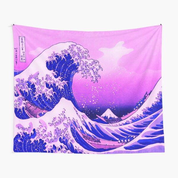 Great Wave Vaporwave Aesthetic Pink Kanagawa Japanese Tapestry