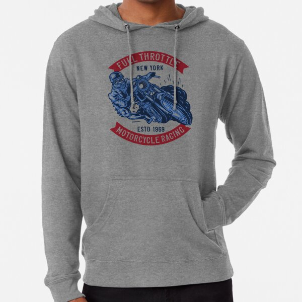 Vintage Motorcycle Live Life at Full Throttle Bike Graphic Hoodie for Men