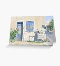 House with roadsigns, St Sornin, France Greeting Card