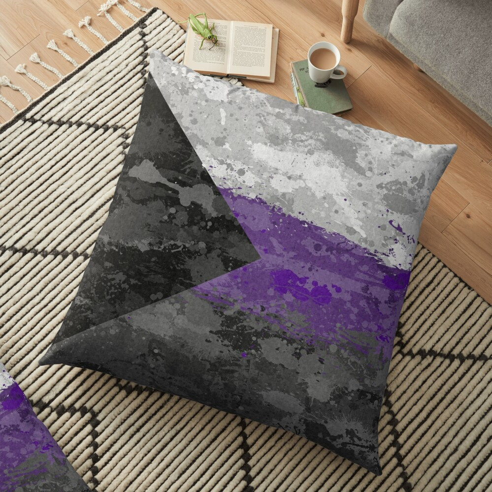 Demisexual Paint Splatter Flag Floor Pillow