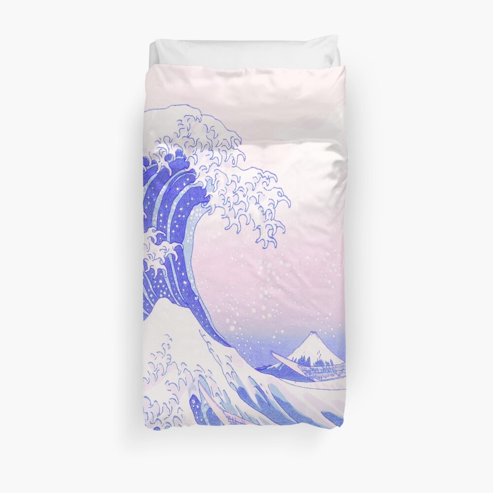 Great Wave Pastel Aesthetic Kawaii Pink Kanagawa Japanese Duvet Cover