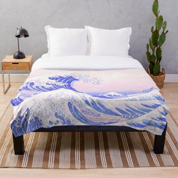 Great Wave Pastel Aesthetic Kawaii Pink Kanagawa Japanese Throw Blanket