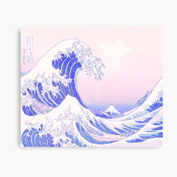Great Wave Pastel Aesthetic Kawaii Pink Kanagawa Japanese Canvas Print