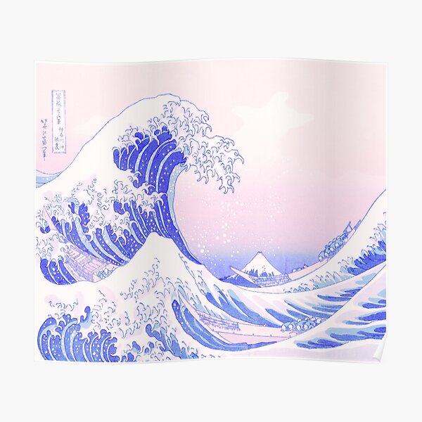 Great Wave Pastel Aesthetic Kawaii Pink Kanagawa Japanese Poster