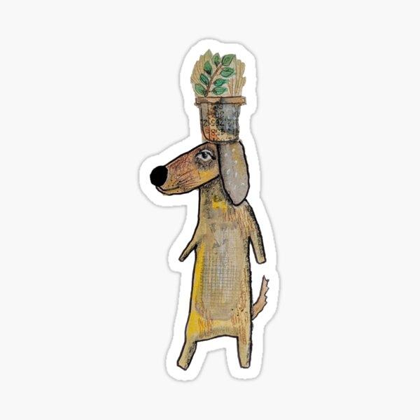 Mutt with plant Sticker