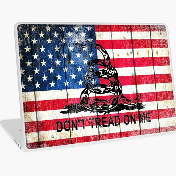 Viper On American Flag On Old Wood Planks Laptop Skin