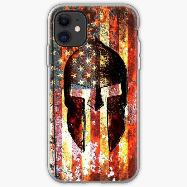 American Flag And Spartan Helmet On Rusted Metal Door - Molon Labe iPhone Soft Case