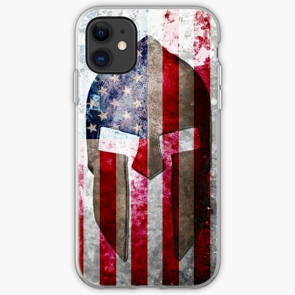 Molon Labe - Spartan Helmet Across An American Flag On Distressed Metal Sheet iPhone Soft Case
