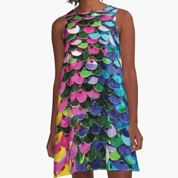Multi-Colored Sequins  A-Line Dress