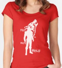 Witcher - Fear The White Wolf Women's Fitted Scoop T-Shirt