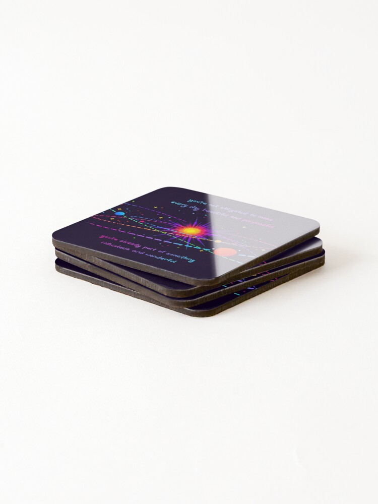 "Alternate view of ""You're Already Part of Something Ridiculous and Wonderful"" Solar System Coasters (Set of 4)"
